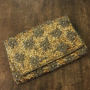 Vintage Clutch Gold Beaded Sequined Purse Formal